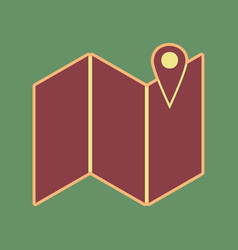 Pin on the map cordovan icon and mellow vector
