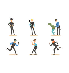 police characters in daily dangerous work vector image