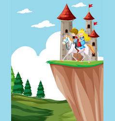 prince and princess riding horse vector image