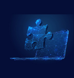 Puzzle on laptop screen low poly vector