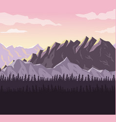 Realistic sunset landscape background of snowy vector