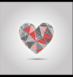 red and grey heart shape polygon abstract vector image