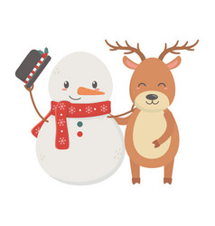 reindeer and snowman with hat celebration merry vector image