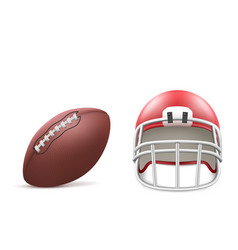 rugby ball and helmet isolated on white background vector image