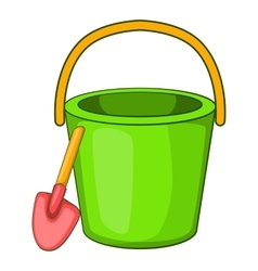 Sand bucket and shovel icon cartoon style vector