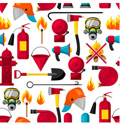 seamless pattern with firefighting items fire vector image