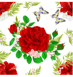 Seamless texture red hibiscus tropical flowers vector