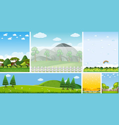 set different nature place scene in vertical vector image