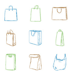set isolated color sketch shopping bags icons vector image