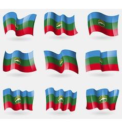Set of KarachayCherkessia flags in the air vector