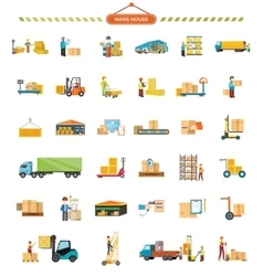 Set of Warehouse Icons in Flat Design vector image