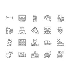 Set taxi line icons truck delivery cabbie vector