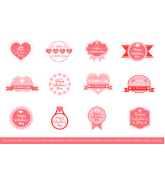 set valentines day decorative badges vector image