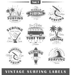 set vintage surfing labels vol1 vector image