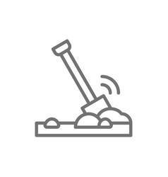 Shovel in ground soil line icon vector