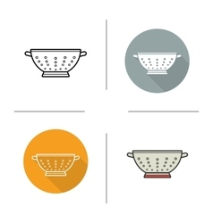 Sieve flat design linear and color icons set vector