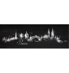 Silhouette chalk Venice vector