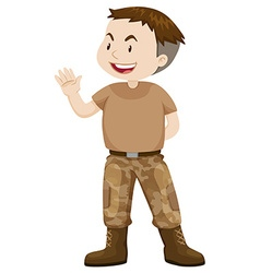 Soldier in brown uniform vector image