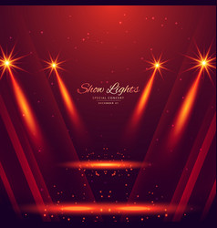 Spot lights on red background vector