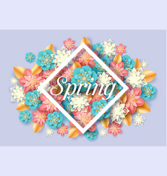 spring seasonal floral poster paper cut vector image