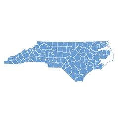 State map of North Carolina by counties vector image vector image
