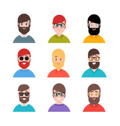stylized young boys and men avatars in cartoon vector image