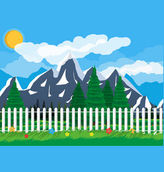 Summer nature mountain landscape national park vector