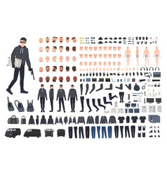 Thief burglar or robber diy kit collection of vector