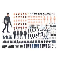 Thief burglar or robber diy kit collection vector