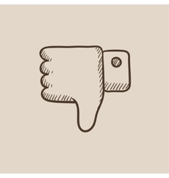 Thumb down hand sign sketch icon vector