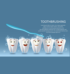 tooth cleaning concept poster banner vector image