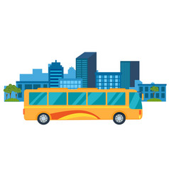 tourist yellow bus with tinted windows rides in vector image