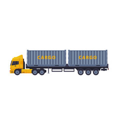 Trailer truck shipping cargo vehicle flat style vector