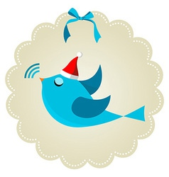 Twitter bird at Christmas time vector