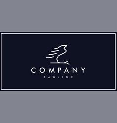 unique silhouette free bird logo line vector image