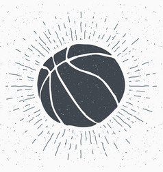 Vintage label hand drawn basketball ball sketch vector