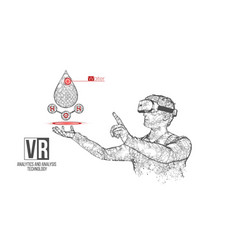 Vr wireframe headset man with water banner vector