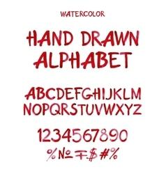 Watercolor hand written cherry alphabet vector image
