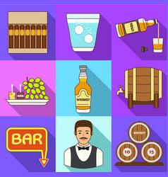 Whiskey bar icon set flat style vector