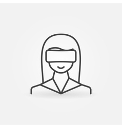 Woman wearing VR icon vector