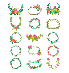 Wreath wreathed flowers and floral vector
