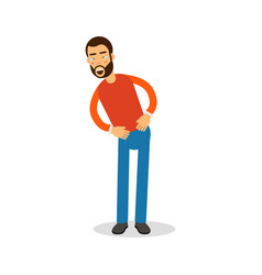 young happy bearded man in red pullover standing vector image