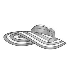 Beach hat icon gray monochrome style vector image vector image