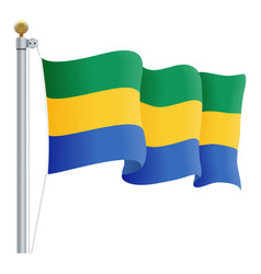 waving gabon flag isolated on a white background vector image vector image