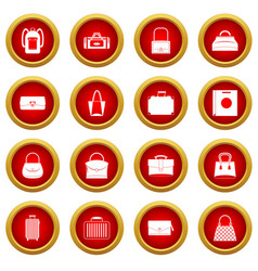 bag baggage suitcase icon red circle set vector image