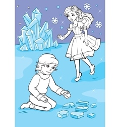 Coloring Book Of Boy Who Folded Ice Pieces vector image