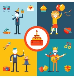Gift party birthday businessman character concept vector