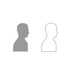 profile side view portrait icon grey set vector image