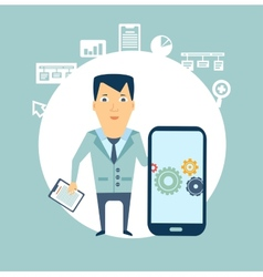 programmer works in a mobile phone vector image vector image