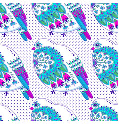 white and blue color seamless pattern with birds vector image vector image